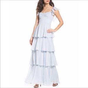 Abby Off Shoulder Tiered Maxi Dress Ocean Mist XL